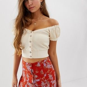 NWT Free People Brighter Days Button Front Top